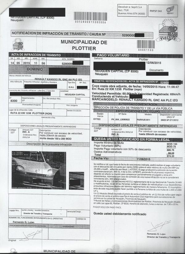 El Defensor del Pueblo recomend� a la Municipalidad de Plottier que interrumpa las notificaciones por presuntas infracciones de tr�nsito en la Ruta Nacional 22