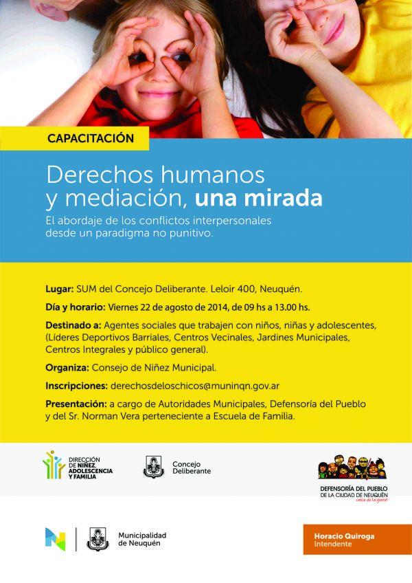 LA DEFENSOR�A DICTAR� UNA CAPACITACI�N EN MEDIACI�N EN EL CONSEJO DE LA NI�EZ, ADOLESCENCIA Y FAMILIA DE LA CIUDAD