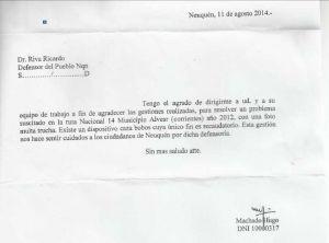 AGRADECIMIENTOS DE VECINOS A LA DEFENSOR�A DEL PUEBLO
